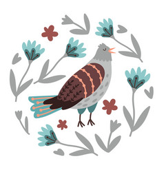 hand drawn bird and flowers vector image