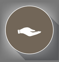hand sign white icon on vector image