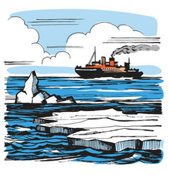iceberg sketch cartoon landscape vector image