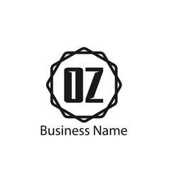 initial letter oz logo template design vector image