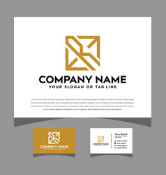 Initials letter erm logo with a business card vector