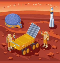 Isometric mars exploration template vector