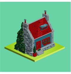 Isometric village house vintage stone vector