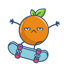 Kawaii orange with attitude on skateboard vector