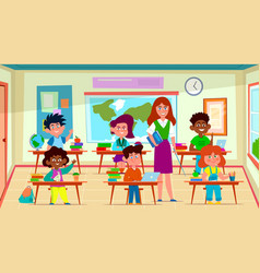 kids and teacher in classroom school pedagogue vector image