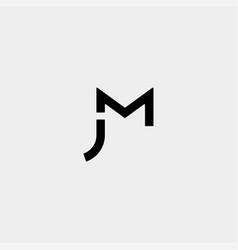Letter jm mj m j monogram logo design minimal icon vector