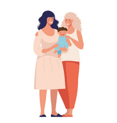 Lgbt couples with children gays lesbian family vector