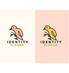 Line art bird logo template vector