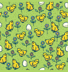 little chickens eggs and flowers seamless pattern vector image