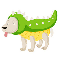 Little dog wearing dinosaur costume vector