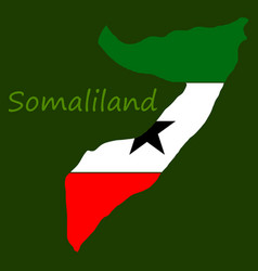Map of somaliland with flag vector