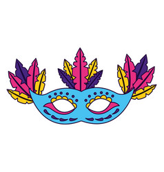 mask with feather carnival vector image