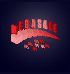 mega sale advert on dark background vector image