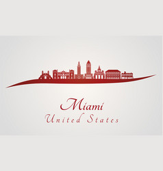 miami v2 skyline in red vector image