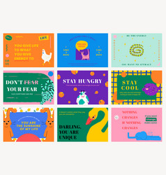 Motivational quote template banners with cute vector