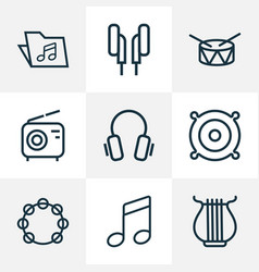 multimedia icons line style set with speaker vector image