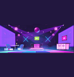 Nightclub with bar dj console and dance floor vector