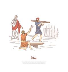 Noah building ark myth legend bible story plot vector