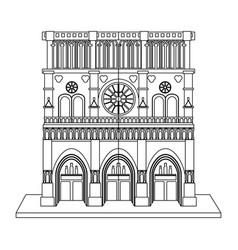 notre dame de paris cathedral icon image vector image