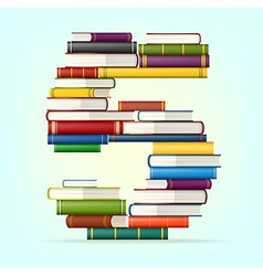 Numbers from stacks multi colored books vector