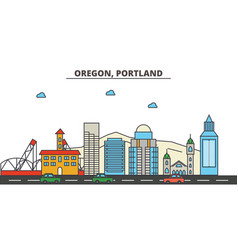 Oregon portlandcity skyline architecture vector