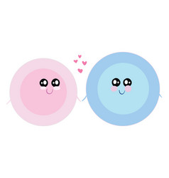 painting two love plates centered with pink vector image