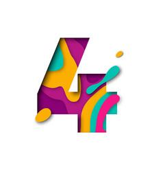 Paper cut number four 4 letter realistic 3d multi vector