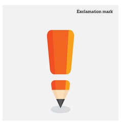 Pencil exclamation mark on background vector image