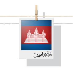 Photo of cambodia flag on white background vector