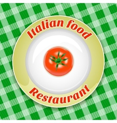 Plate with title and tomato vector