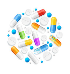 realistic detailed 3d pills and tablets round vector image