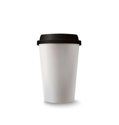 realistic paper coffee cup on white background vector image