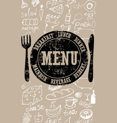 Restaurant menu typographical retro poster design vector