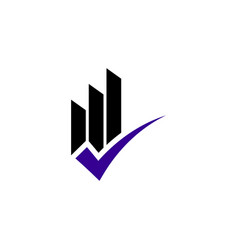 rising bar check logo design concept vector image