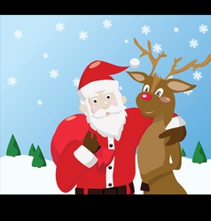 Santa Claus and reindeer on winter background vector image