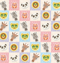 Set of funny animals muzzle owl panda giraffe lion vector image