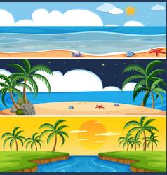 set of summer beach landscape vector image