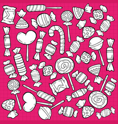 sketch tasty sweet products pattern vector image
