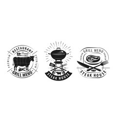 steak house barbecue logo or label emblems vector image