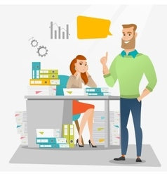 Stressed female office worker and her employer vector image