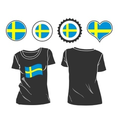 T-shirt with the flag of Sweden vector