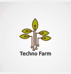 techno farm with green leaf logo concept icon vector image
