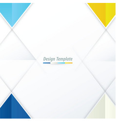template triangle design blue yellow blue vector image