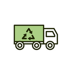 truck recycle environment ecology line and fill vector image