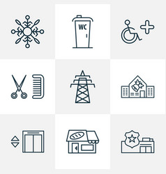 Urban icons line style set with bakery school vector