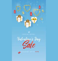 valentines day sale vertical banner flyer vector image