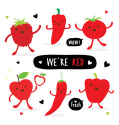 vegetable fruit cartoon cute tomato apple pepper vector image