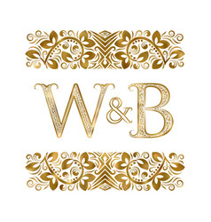 W and b vintage initials logo symbol letters vector
