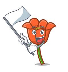 with flag poppy flower mascot cartoon vector image