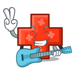 with guitar cross mascot cartoon style vector image